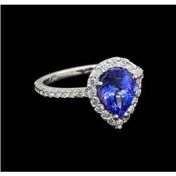 2.20 ctw Tanzanite and Diamond Ring - 14KT White Gold