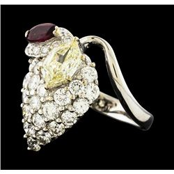 1.29 ctw Diamond, Diamond and Ruby Ring - Platinum