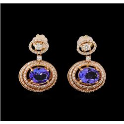 14KT Rose Gold 4.26 ctw Tanzanite and Diamond Earrings