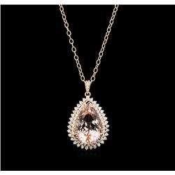 24.32 ctw Morganite and Diamond Pendant With Chain - 14KT Rose Gold