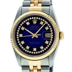 Rolex Mens 36mm Two Tone Yellow Gold Blue Vignette String VS Diamond DateJust Wr