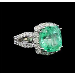 GIA Cert 8.37 ctw Emerald and Diamond Ring - 14KT White Gold