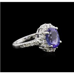 3.03 ctw Tanzanite and Diamond Ring - 14KT White Gold