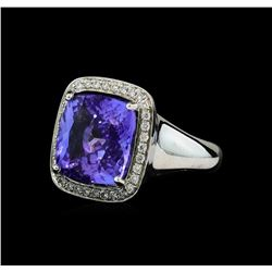 8.90 ctw Tanzanite and Diamond Ring - 14KT White Gold
