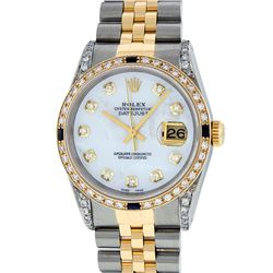 Rolex Mens Two Tone Diamond Lugs Mother Of Pearl Diamond and Sapphire Datejust W