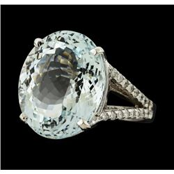 11.04 ctw Aquamarine and Diamond Ring - 14KT White Gold