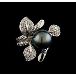 0.53 ctw Diamond and Pearl Ring - 14KT White Gold