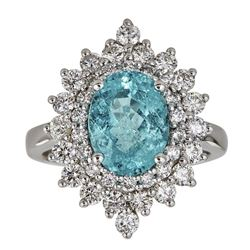 3.03 ctw Paraiba Tourmaline and Diamond Ring - 18KT White Gold