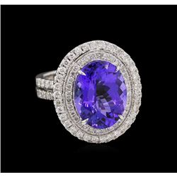 14KT White Gold 8.01 ctw Tanzanite and Diamond Ring