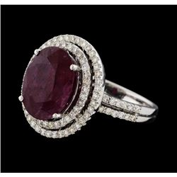 6.60 ctw Ruby and Diamond Ring - 14KT White Gold