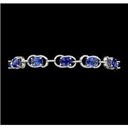 11.15 ctw Blue Sapphire And Diamond Bracelet - 14KT White Gold