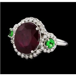 5.91 ctw Ruby, Tsavorite, and Diamond Ring - 14KT White Gold