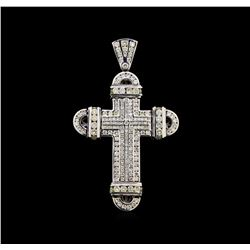 16.24 ctw Diamond Cross Pendant - 10KT White Gold