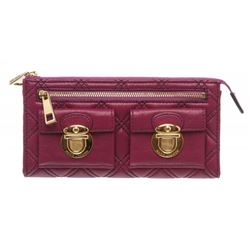 Marc by Marc Jacobs Purple Quilted Leather Long Zipper Wallet