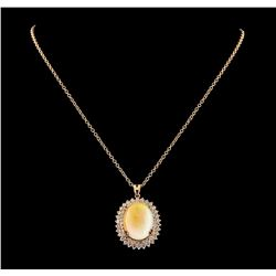 26.39 ctw Opal and Diamond Pendant With Chain - 14KT Rose Gold