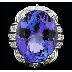 14KT White Gold 30.15 ctw Tanzanite and Diamond Ring