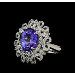 5.76 ctw Tanzanite and Diamond Ring - 14KT White Gold