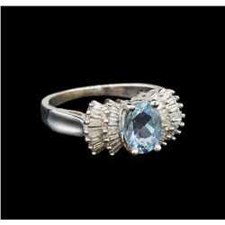 14KT White Gold 1.17 ctw Aquamarine and Diamond Ring