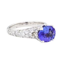 2.67 ctw Tanzanite And Diamond Ring - 18KT White Gold