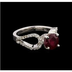 14KT White Gold 2.05 ctw Ruby and Diamond Ring