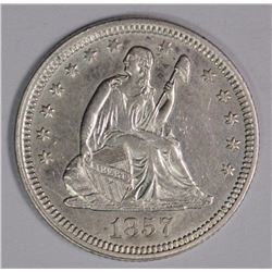 1857 SEATED LIBERTY QUARTER, CH AU