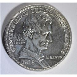 1918 LINCOLN ILLINOIS COMMEM. HALF, CH BU