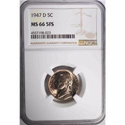 1947-D JEFFERSON NICKEL, NGC MS-66 FS