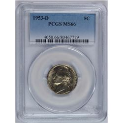 1953-D JEFFERSON NICKEL, PCGS MS-66