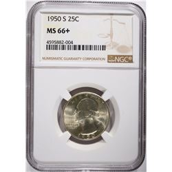 1950-S WASHINGTON QUARTER, NGC MS-66+