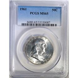 1961 FRANKLIN HALF DOLLAR PCGS MS65