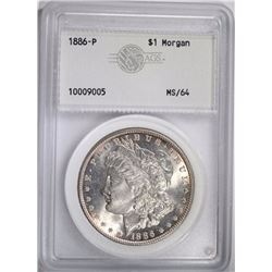 1886 MORGAN DOLLAR, AGS CH/GEM BU