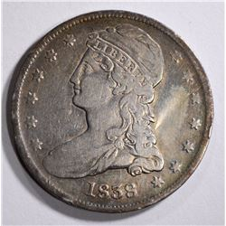 1838 CAPPED BUST HALF DOLLAR  VF