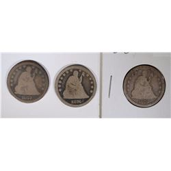 3 SEATED LIBERTY QUARTERS: 1877-CC,