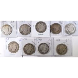 9 DIFFERENT BARBER HALF DOLLARS GOOD-VG/FINE