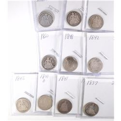 10 SEATED LIBERTY DIMES CIRC. 1891 and OLDER