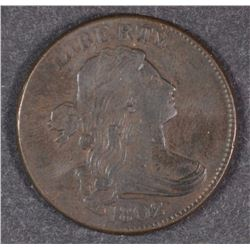 1802 DRAPED BUST LARGE CENT, XF/AU