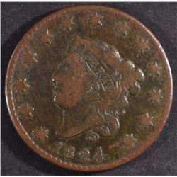 1824 LARGE CENT, F/VF SEMI-KEY DATE