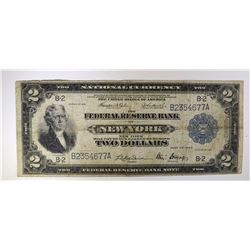 1918 $2.00 NATIONAL FEDERAL RESERVE BANK NOTE F-VF