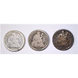 3 1876-CC SEATED LIBERTY DIMES  VG