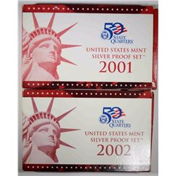 2001 & 2002 Silver Proof Sets