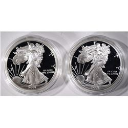 (2) 2001 Proof American Silver Eagles
