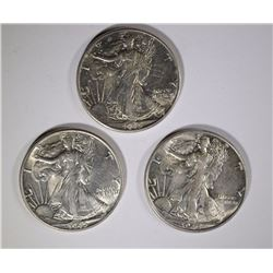 3 - 1945 WALKING LIBERTY HALF DOLLARS