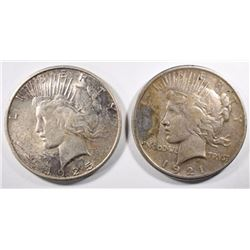 1921 XF damage & 1925-S AU/UNC PEACE DOLLARS