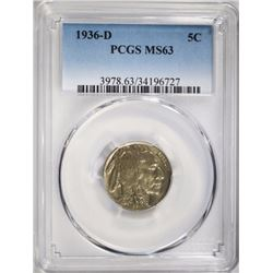 1936-D BUFFALO NICKEL, PCGS-MS63