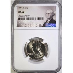 1994-P WASHINGTON QUARTER, NGC MS-66