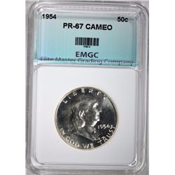 1954 FRANKLIN HALF, EMGC SUPERB GEM PROOF CAMEO