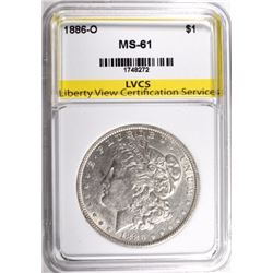 1886-O MORGAN SILVER DOLLAR, LVCS CHOICE BU