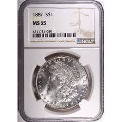 1887 MORGAN DOLLAR, NGC-MS65