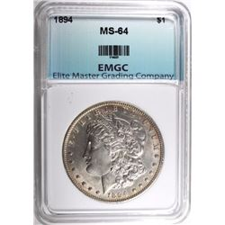 1894 MORGAN SILVER DOLLAR, EMGC CH/GEM BU