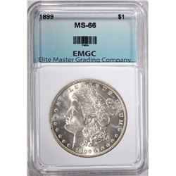 1899 MORGAN SILVER DOLLAR, EMGC SUPERB GEM BU